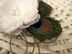 White bridal hair accessories with peacock by PaijasBoutique, $26.00