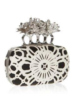 Alexander McQueen  Dandelion Knuckle Swarovski crystal, calf hair and leather box clutch