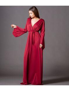 8760c1867549 Μάξι Κρουαζέ Φόρεμα με Ζώνη και Μανίκια Καμπάνα - Κόκκινο