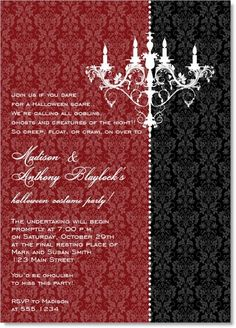 Chandelier Invitational Red #chandelier #victorian #antique #halloween #fall #autumn #party #event #invite #invitation #invitationbox #design #interesting #pinterest #scary #spooky