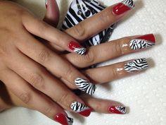 Zebra with color blocking Cheetah Nail Designs, Cheetah Nails, Red Nails, Hair And Nails, Nail Art Designs, Marble Nails, Gel Nail Art, Finger, French Nails
