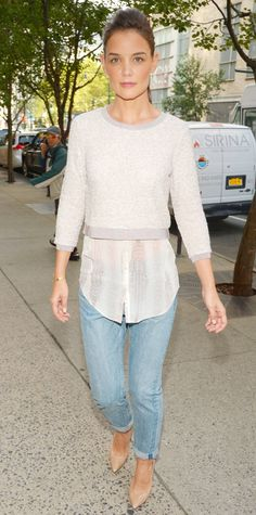 Look of the Day - October 5, 2014 - Katie Holmes in Elie Tahari for Kohl's DesigNation from #InStyle