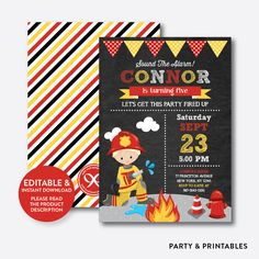 Fire Fighter Boy ... http://partyandprintables.com/products/fire-fighter-boy-chalkboard-kids-birthday-invitation-editable-instant-download-ckb-518b?utm_campaign=social_autopilot&utm_source=pin&utm_medium=pin #partyprintables #birthdayinvitation #partysupplies #partydecor #kidsbirthday #babyshower