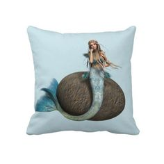 Sad #Mermaid Throw #Pillows