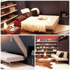 sofá se tranforma em cama de casal e pode ser embutido na parede