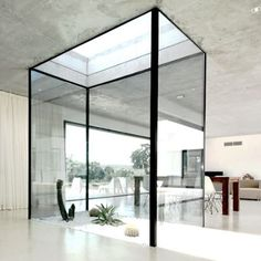 Love this glass box garden! The clean lines and the exposed concrete ceiling!!