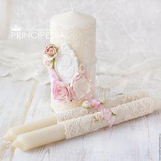 """Купить """"Пудрово-розовый"""" свечи свадебные - кремовый, аксессуары, Аксессуары handmade, аксессуары для фотосессий"""