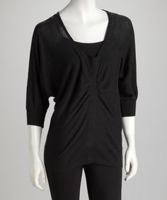 Take a look at this Topin Black Ruche V-Neck Dolman Sweater by Feminine Flair: Women's Apparel on @zulily today!