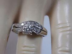 Mid Century Diamond Bridal Ring Set .31Ctw by estatejewelryshop