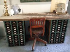 """How She Decorates With Vintage Furniture,"" via ""Junk in the Trunk"" -- ""Coley has transformed old card catalogues and barn wood into this beautifully repurposed desk."""