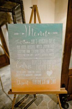 DIY Weddings  Painted Menu Sign by Nixie Sparrow  Photo : Elisha Orin Photography