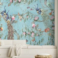 Chinoiserie Wallpaper, Glass Furniture, Peacock Blue, Love Wallpaper, Traditional Wallpaper, Ukraine, Guest Room, Tiles, Eco Friendly