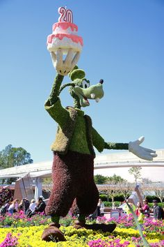 Epcot International Flower and Garden Festival - 2013 Epcot Flower and Garden Festival - Goofy topiary celebrating 20 years of the festival