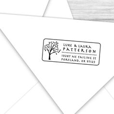 Custom address stamp with nice tall leafy by tickledpinkpaperink, $23.95
