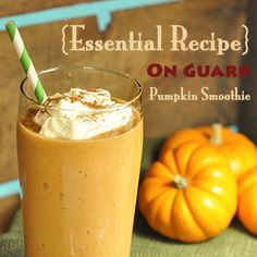 "On Guard Pumpkin Smoothie using doTERRA Essential Oils: ""Fall is here which means cooler weather and lots of delicious pumpkin recipes! Unfortunately, the cooler weather can make it harder to keep your family healthy and can weaken their immune systems. Help your family maintain a healthy immune system while enjoying the flavors of fall with this On Guard Pumpkin Smoothie. It will be sure to please even your toughest critics."""