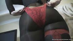 red garters and seam pattern pantyhose under sexy red panties - Daniella In Pantyhose Videos