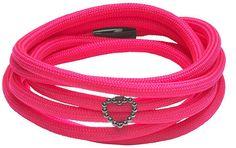 Story 6004182 Armband Stoffarmband Pink Herz Silber rhodiniert