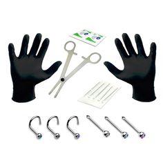 BodyJ4You Body Piercing Kit Needles 20G 0.8mm Jewelry Nose Screw Nose Stud 15 Pieces