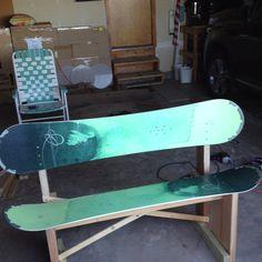 My new snowboard bench!