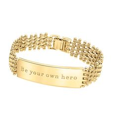 Stella Valle Be Your Own Hero ($77) ❤ liked on Polyvore featuring jewelry, gold, engraved jewelry, id bracelet and engraved id bracelet