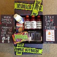 Zombie Outbreak Halloween care package idea for college kids Spooktacular ideas Halloween that are sure to dazzle any college kid! Fun, spooky, and thoughtful ways to decorate a care package for a student. Halloween Gift Baskets, Halloween Gifts, Halloween Ideas, Halloween College, Halloween Snacks, Cute Gifts, Diy Gifts, Halloween Care Packages, Zombie Gifts
