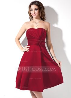A-Line/Princess Sweetheart Knee-Length Satin Bridesmaid Dress With Ruffle Flower(s) (007006365) - JJsHouse