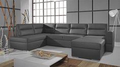 Rozkladacia sedacia súprava do U čierna Calhoun I Corner Sofa Bed Leather, Black Corner Sofa, Corner Sofa Bed With Storage, Leather Sofa, Sofa Design, Large Sofa Cushions, Couch L Form, Sofa Bed Dimensions, Sofa Italia