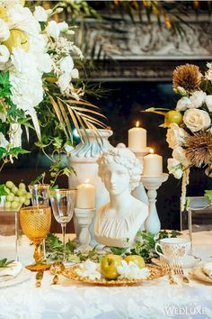 8 Gorgeous Goddess Party Ideas For Best Party Inspiration Inside Greek Themed Party Decorations - Best Home Decor Ideas Greek Party Decorations, Wedding Decorations, Table Decorations, Decor Wedding, Wedding Colors, Wedding Flowers, Greek Wedding Theme, Wedding Table, Wedding Ideas