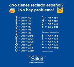 ¿No tienes teclado español? ¡No hay problema! ;D
