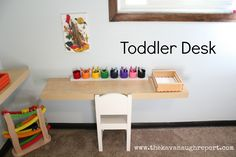 Bedding set, painted backdrop to bookshelf for toys, basket for books, letters painted, low hanging art and photos.