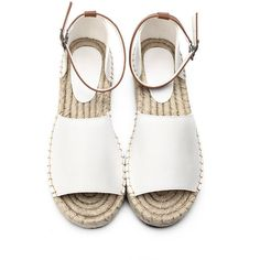 Yoins White Peep Toe Leather Look Ankle Strap Flat Sandals (1,895 DOP) ❤ liked on Polyvore featuring shoes, sandals, flats, sapatos, white, flat pumps, ankle strap flat sandals, leather flats, peep-toe flats and peep toe sandals
