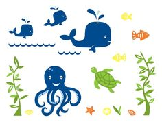 Under the Sea Wall Decal Mural | weeDECOR Different colors
