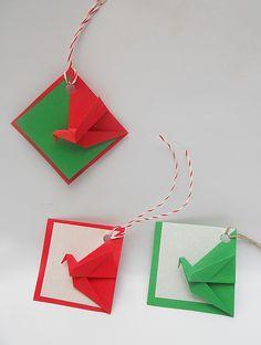 origami - Navidad - tarjetas grulla