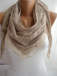 Beige Elegance Scarf Shawl by DIDUCI on Etsy, $19.90