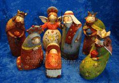 Colorful Folk Nativity Set