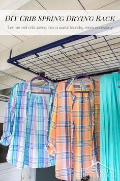 What a great idea! Turn an old crib spring into a drying rack for your laundry…