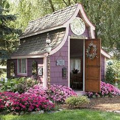 Purple Garden shed >> May only be a shed here, but this would be a super cute guest house or studio!