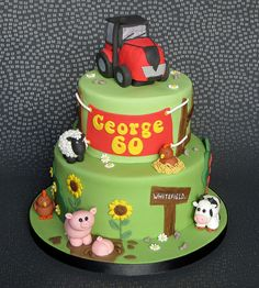 Farm and Tractor Cake. Red tractor, cow, sheep, chicken, pigs. Pam Bakes Cakes, pambakescakes.