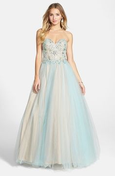 Vintage Inspired 1940s Prom Dress - Women's Terani Couture Embellished Tulle Strapless Ballgown