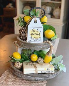Fresh Squeezed Lemonade / Lemonade Sign / Tiered Tray Decor / Farmhouse Decor / Summer Sign / Wood T