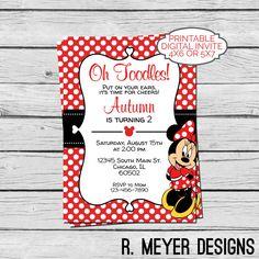 Minnie Mouse Red White Polka Dot Birthday Invitation