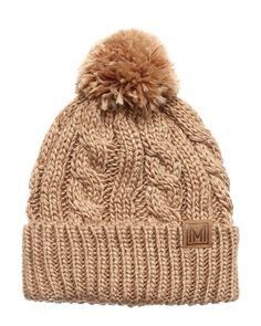 6bf6319d95a Winter Oversized Cable Knitted Pom Pom Beanie Hat with Fleece Lining. -  Khaki - C8186MM29DN