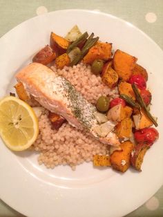 My salmon and roasted veg on a bed of giant cous cous