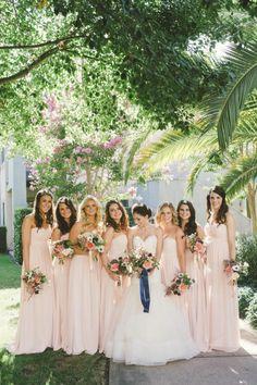 Blush 'maids: http://www.stylemepretty.com/2015/05/01/al-fresco-yountville-wine-country-wedding/   Photography: Emily Blake - http://emilyblakephoto.com/