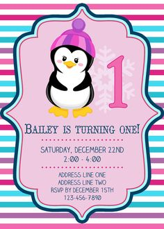 Girly Penguin Birthday Invitation  Printable  by GoodHueDesigns, $10.00