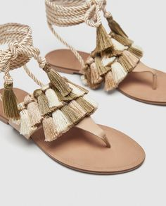 Image 3 of FLAT LEATHER SANDALS WITH TASSELS from Zara