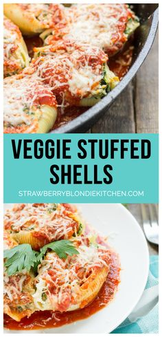 These veggie stuffed shells are packed with hearty vegetables, creamy cheese and smothered in delicious garlic Ragu Homestyle Pasta Sauce. They're so good, even the meat eaters will be asking for seconds!  Perfect dinner for Meatless Monday | Strawberry Blondie Kitchen