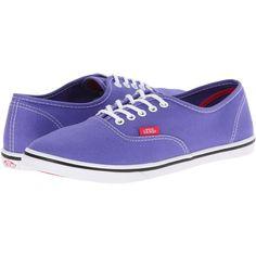Vans Authentic Lo Pro Purple Iris/Rose Red) Skate Shoes, Purple featuring polyvore, fashion, shoes, sneakers, purple, cocktail shoes, evening shoes, yellow skate shoes, purple sneakers and blue evening shoes