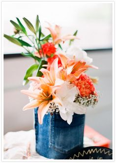 Denim Vase: Photo by Arielle Doneson Photography via 100 Layer Cake