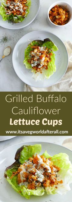 Crispy grilled cauliflower is smothered in buffalo sauce and stuffed into crunchy butter lettuce in this delicious recipe. Make this tasty meal for summer cookouts, Memorial Day, Fourth of July, or Labor Day. #grilling #cookoutrecipes Healthy Vegetable Recipes, Veg Recipes, Vegetable Side Dishes, Vegetarian Recipes, Grilled Cauliflower, Buffalo Cauliflower, Cauliflower Recipes, Tasty Dishes, Food Dishes
